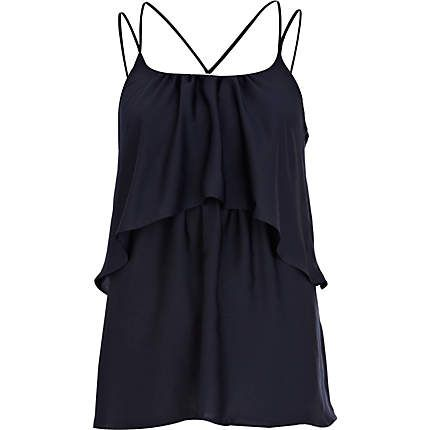 Caraco bleu marine à bretelles multiples superposées - caracos / tops sans manches - tops - femme