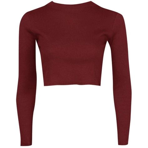 2dff082ec01df Lucy Ribbed High Neck Long Sleeve Crop Top ❤ liked on Polyvore featuring  tops