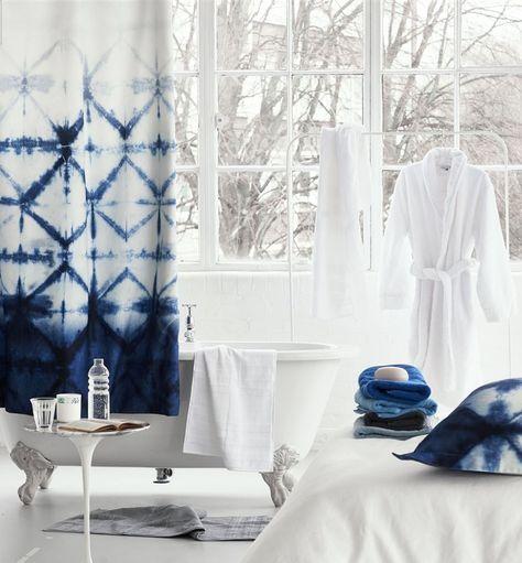 Seraya Indigo Shower Curtain Indigo Shower Curtain Designer