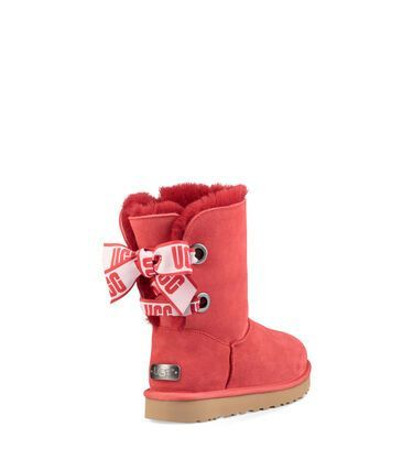 Red And White Ugg Boots With Bows in