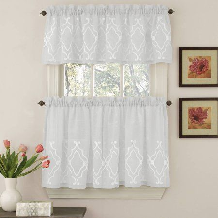 Reef Marine Knitted Lace Kitchen Curtains 24 36 Tier Pair 38 Swag Pair Or 12 Valance Walmart Com Curtains Curtain Style Kitchen Curtains