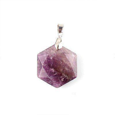 Pingente Hexagrama Estrela De Davi Ametista E Uma Pedra Muito