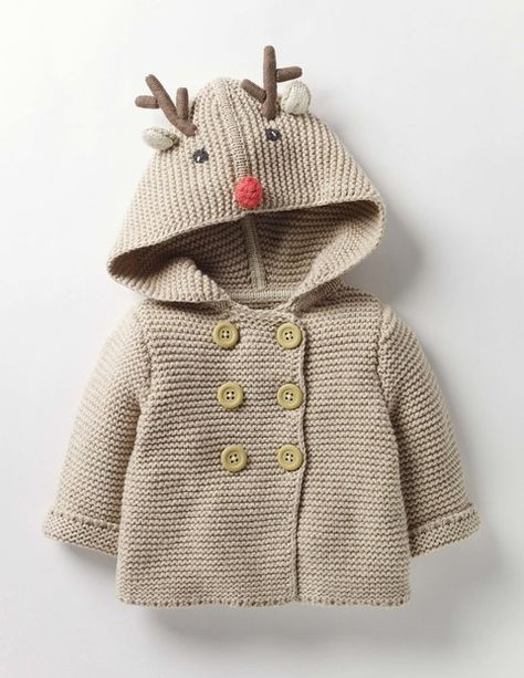 This knitted reindeer jacket is too cute! Wild Animal Knitted Jacket (I will receive a small commission if you click this link) Baby Boy Knitting Patterns, Baby Cardigan Knitting Pattern, Knitting For Kids, Crochet For Kids, Baby Patterns, Crochet Baby Costumes, Crochet Baby Clothes, Cute Baby Clothes, Handmade Baby Clothes