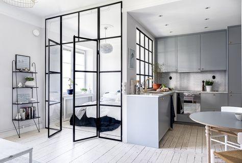 Trennwand aus Glas wie Sprossenfenster Wohnküche Pinterest - offene küche wohnzimmer abtrennen