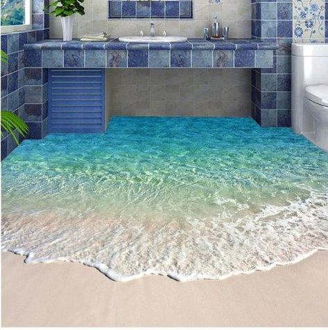 3D sandy beach blue water wallpaper for floors. Any room natural scenery self-adhesive floor mural. Free worldwide shipping on all orders.