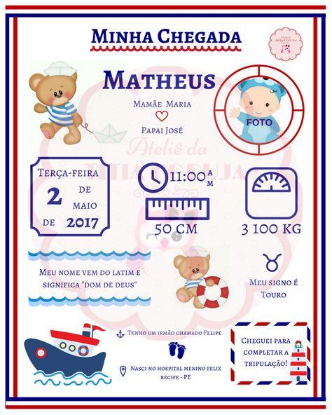 quadro minha chegada - bebê - recém nascido -  marinheiro - navy -personalizado - dados do bebê - decoração - R$ 19,90! Contato: ateliedatitiacoruja@gmail.com
