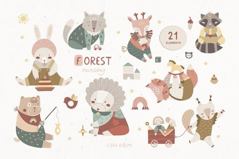 Woodland animal clipart - Forest nursery (1345966) | Illustrations | Design Bundles