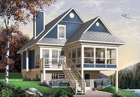 Narrow Cottage House Plans With Garage 56 Ideas For 2020 Cottage Garage House Ideas Narrow In 2020 Sloping Lot House Plan Beach Style House Plans Lake House Plans