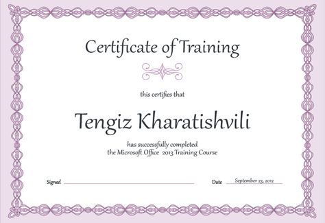 Modern Purple Training Certificate Template Templates - certificate of completion wording