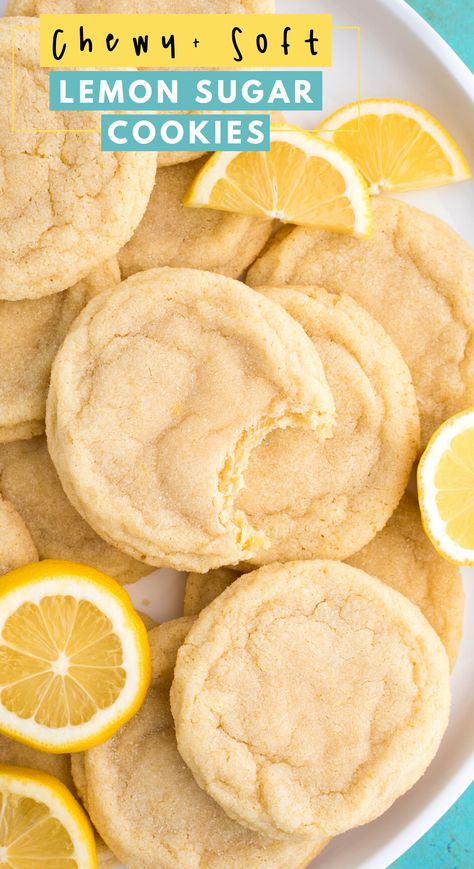 Soft and chewy Lemon Cookies are a crowd favorite cookie that you can make anytime of the year. These lemon sugar cookies are thick & chewy and easy to freeze. Easy to make in one bowl with fresh lemon and everyday ingredients. #lemoncookies #sugarcookies #cookies Fun Baking Recipes, Lemon Recipes, Sweet Recipes, Cookie Recipes, Donut Recipes, Pumpkin Recipes, Mini Desserts, Delicious Desserts, Yummy Food