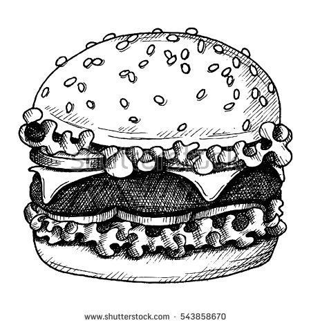 Sketch Ink Graphic Hamburger Illustration Draft Silhouette Drawing Black On White Background Delicious V Black And White Sketches Vintage Drawing Ink Sketch