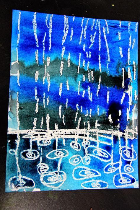 smART Class: Winter Rain Watercolor Resist - drops smaller further away