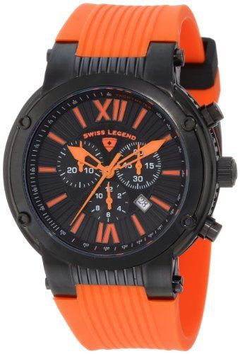 Swiss Legend Men's 10006-BB-01-ORG Legato Cirque Chronograph Black Textured Dial Orange Silicone Watch Swiss Legend. Save 85 Off!. $151.44. Water-resistant to 100 M (330 feet). Chronograph functions with 60 second, 30 minute and 12 hour subdials; date function. Swiss quartz movement. Sapphitek crystal; black ion-plated stainless steel case; orange silicone strap. Black textured dial with orange hands, hour markers and roman numerals; tachymeter scale on inner bezel; screw-down crown