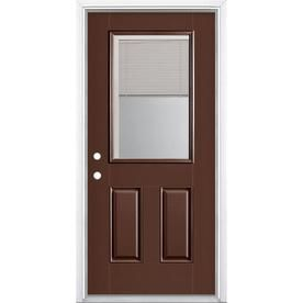 Masonite 36 In X 80 In Fiberglass Half Lite Right Hand Inswing Chocolate Painted Prehung Single Front Door Brickmould Included With Blinds Lowes Com Entry Doors Masonite Easy Install Doors Entry doors are the first thing people notice when they come to your home. pinterest