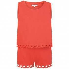 d78adb076 Chloe Girls Red Playsuit With Broderie Anglaise Trims