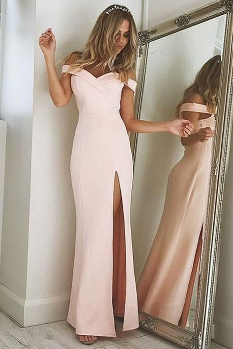 3f9ce981e7d Mermaid Off-the-Shoulder Split-Side Pink Stretch Satin Prom Dress ...