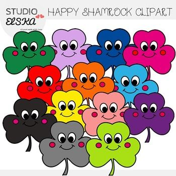 Cute and happy, smiling shamrocks Clipart :) Great for St. Patrick's Day projects.  This set has 14 high quality PNG images 13 color images 1 black and white version