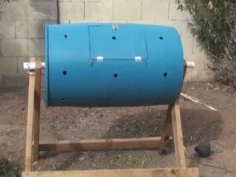 "How To Make A Compost Tumbler (Fast, Cheap and Easy)  1"" air holes were used but most tumblers use 1/4"" and a lot more of them"
