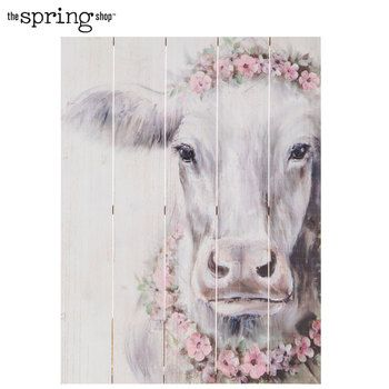 Cow With Roses Wood Wall Decor Wood Wall Decor Cow Canvas Canvas Wall Decor