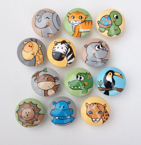 Add some fun, animal life to any kids room. What a better way to decorate a kids room with hand made animal drawer pulls. These sets are hand-painted