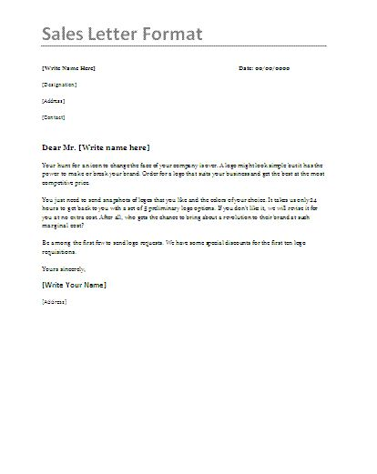 4 Sales Letter Templates Letter Sample Word Template