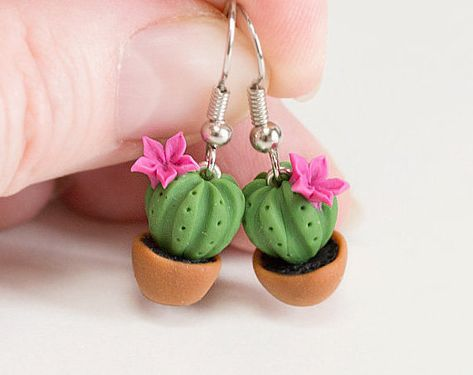 Cactus earrings Cute earrings Gift idea Potted Plant Earrings Polymer clay earrings dangle Polymer clay jewelry Green earring is part of Clay crafts Cactus This is a handmade green cactus earr -
