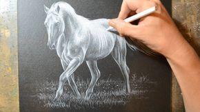 Dibujo Caballo Con Lapiz Blanco Sobre Cartulina Negra Val 10 Black Paper Drawing Color Pencil Drawing Pencil Crayon