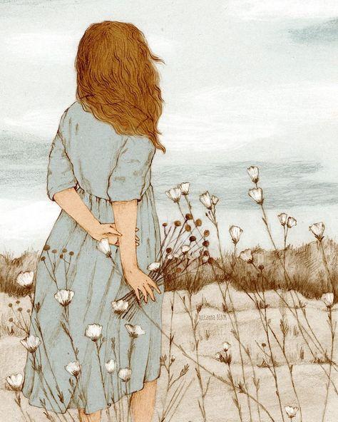 "22.1 mil Me gusta, 228 comentarios - Julianna Bíbor (@julianna.bibor) en Instagram: ""☁️ The Flower Picker ☁️ . . . #cozy #slowliving #illustrationartists #moreillustrations…"""