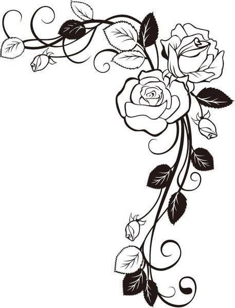 Pin By Nergis Nergis On Desenler Vine Drawing Coloring Pages Rose Drawing