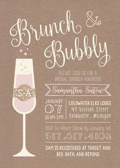 Bridal shower invitation idea - blush + sparkly invitation for