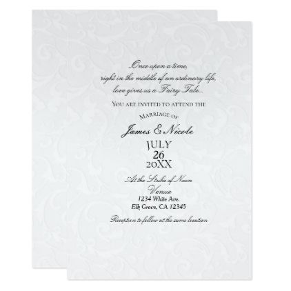 Beautiful White Texture Modern Chic Wedding Invitation Zazzle