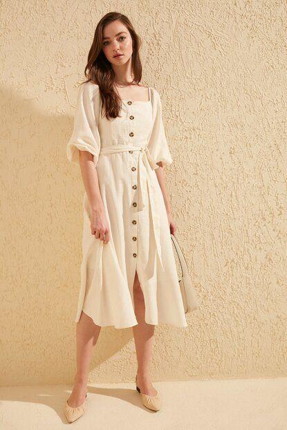 Trendyolmilla Ekru Kusakli Elbise Twoss19ie0009 Trendyol 2020 Kusakli Elbise Kadin Giyim Elbise