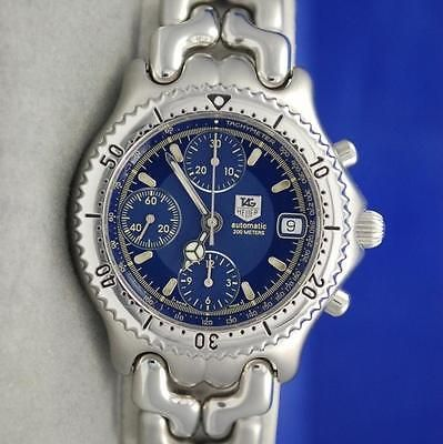 Mens Tag Heuer Link SEL S/el SS AUTOMATIC CHRONOGRAPH watch - BLUE DIAL - CG2111