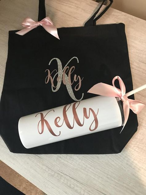 PERSONALIZED TUMBLER and bag gift set, water bottle with name, monogrammed bag, stainless tumbler, rose gold, white, unique Christmas gift #PersonalizedTumbler #WithName #GiftSet #UNIQUE #MonogrammedBag #RoseGold #WaterBottle #BAG #WHITE #StainlessTumbler