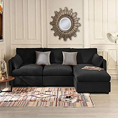 Black Velvet Sectional Sofa Couch With Chaise Lounger Modern