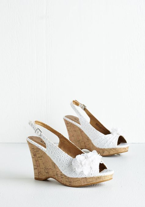 Flair to Spare Wedge in White. When it comes to these white slingback wedges from CL by Laundry, sweetness is aplenty! #white #wedding #bridesmaid #bride #modcloth