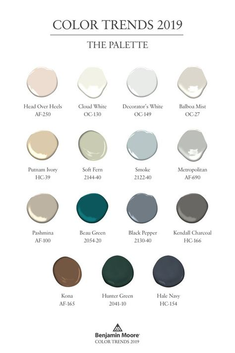 Benjamin Moore Color Trends 2019, a collection of 15 paint colors that can all work together. The collection offers colors for walls, trim, ceilings, doors and more. Choose one or a few for your next paint project. #ColorTrends2019