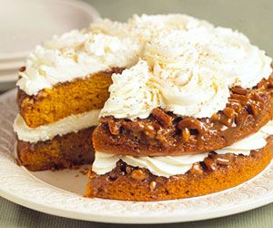 Pumpkin-Praline Layer Cake, one of our all-time reader faves. More pumpkin recipes: http://www.midwestliving.com/food/holiday/28-pumpkin-recipes-we-absolutely-love/
