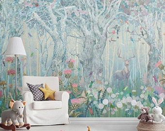 Fantasy Enchanted Magical Forest Large Wall Mural Etsy In 2020 Wallpaper Kids Room Wall Murals Forest Wall Mural