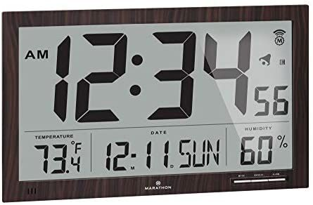 Digital Wall Clock, Atomic Wall Clock With Indoor Outdoor Temperature And Humidity