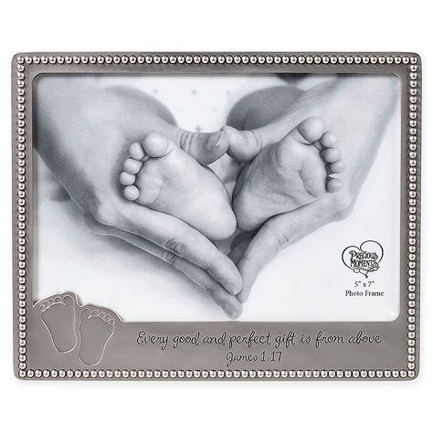 """The Baby Footprints Photo Frame from Precious Moments is beautifully detailed with the biblical verse """"Every good and perfect gift is from above"""". Embossed with cute footprints and a beaded edge, it's the perfect gift for new parents. Newborn Baby Photos, Newborn Pictures, Baby Pictures, Boy Newborn, Baby Girl Gifts, New Baby Gifts, Little Blessings, Baby Footprints, Gifts For New Parents"""