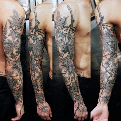 Male Vine And Leaf Tattoos Sleeve Tree Branch