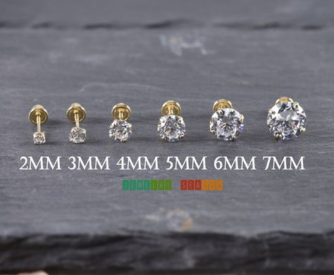db675295b 14K Yellow Gold Clear CZ Round Basket Stud Earrings with Screw Back *Note:  This Listing is for One Pair of Stud Earring Metal: Solid 14K Yellow Gold  Metal ...