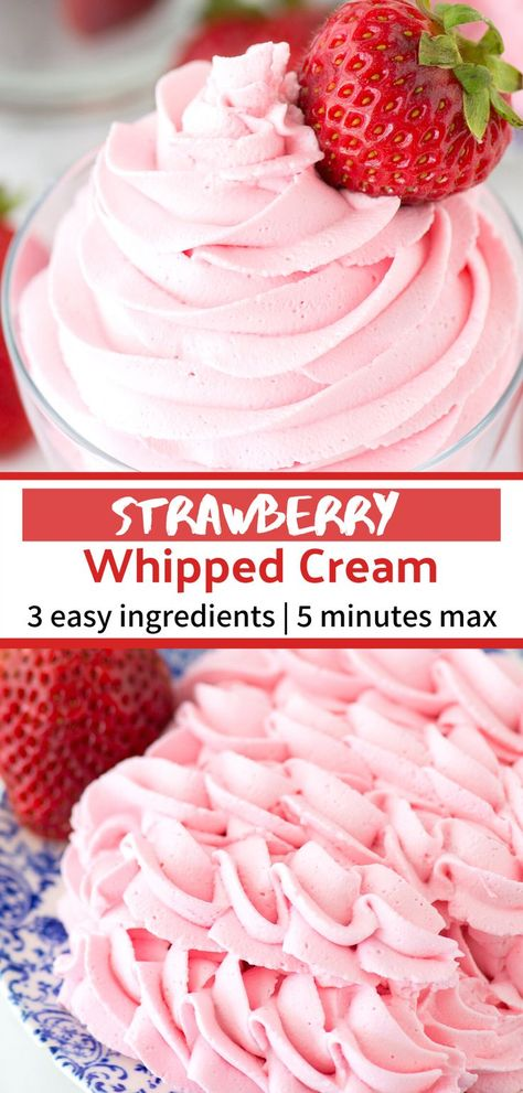 Homemade strawberry whipped cream using only 3 ingredients! Use this strawberry whipped cream as frosting for cupcakes cake and pie! This whipped cream is stable and you can pipe it! Whipped Icing Recipes, Strawberry Frosting Recipes, Whipped Cream Desserts, Whipped Cream Icing, Recipes With Whipping Cream, Homemade Whipped Cream, Cream Recipes, Strawberry Desserts, Strawberry Filling For Cupcakes