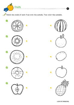 P1 Match The Inside Of Each Fruit With The Outside P2 3 Match The Shadow To The Fruit P4 Sort Kindergarten Worksheets Fun Worksheets For Kids Fruits For Kids