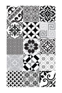 Grand Tapis E9 70 X 180 Cmcollection Eclectic Noir Blanc Tapis