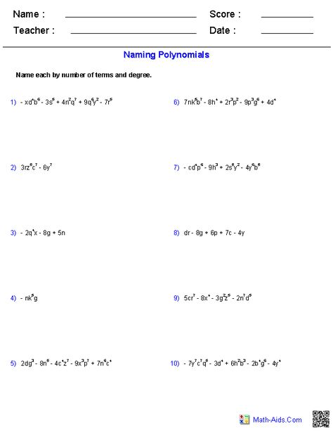 Algebra 1 Worksheets Monomials And Polynomials Worksheets Algebra Worksheets Basic Math Worksheets Algebra Equations Worksheets Dividing by monomials worksheet 2