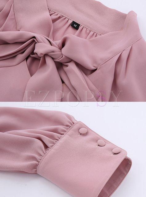 Casual Chiffon Long Sleeve Blouse | Ezpopsy.com