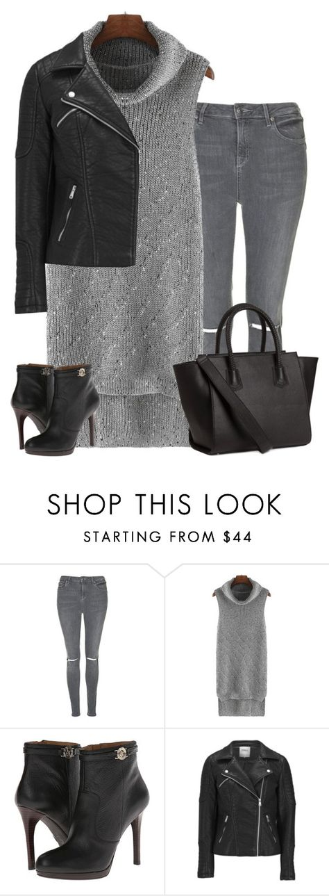 """Black and grey"" by lenaick ❤ liked on Polyvore featuring Topshop, Armani Jeans, ONLY and H&M"