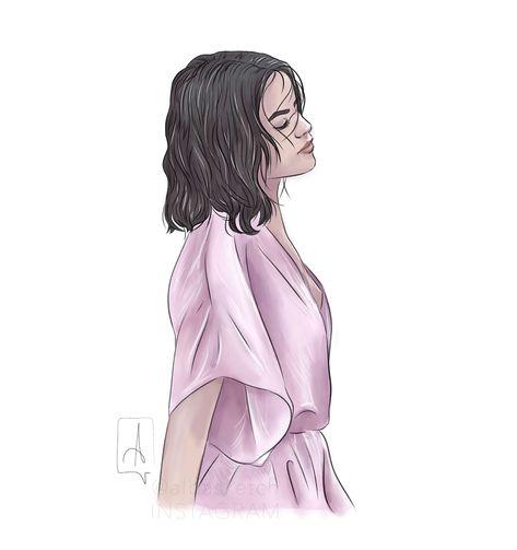Selena Gomez pink by albasketch #art #artist #draw #drawing #illustration #sketch #sketchbook #Selena #selenagomez #music #albasketch